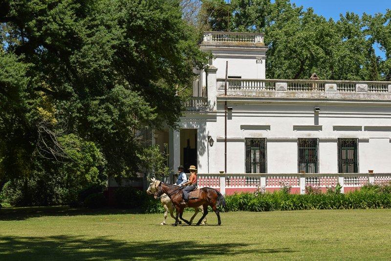 LO casa frente caballos