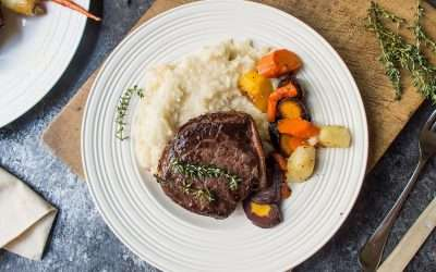 Wild Game meat grilled to Perfection Pan-Seared Bacon-Wrapped Elk Medallions (Bison and Venison also great choices)